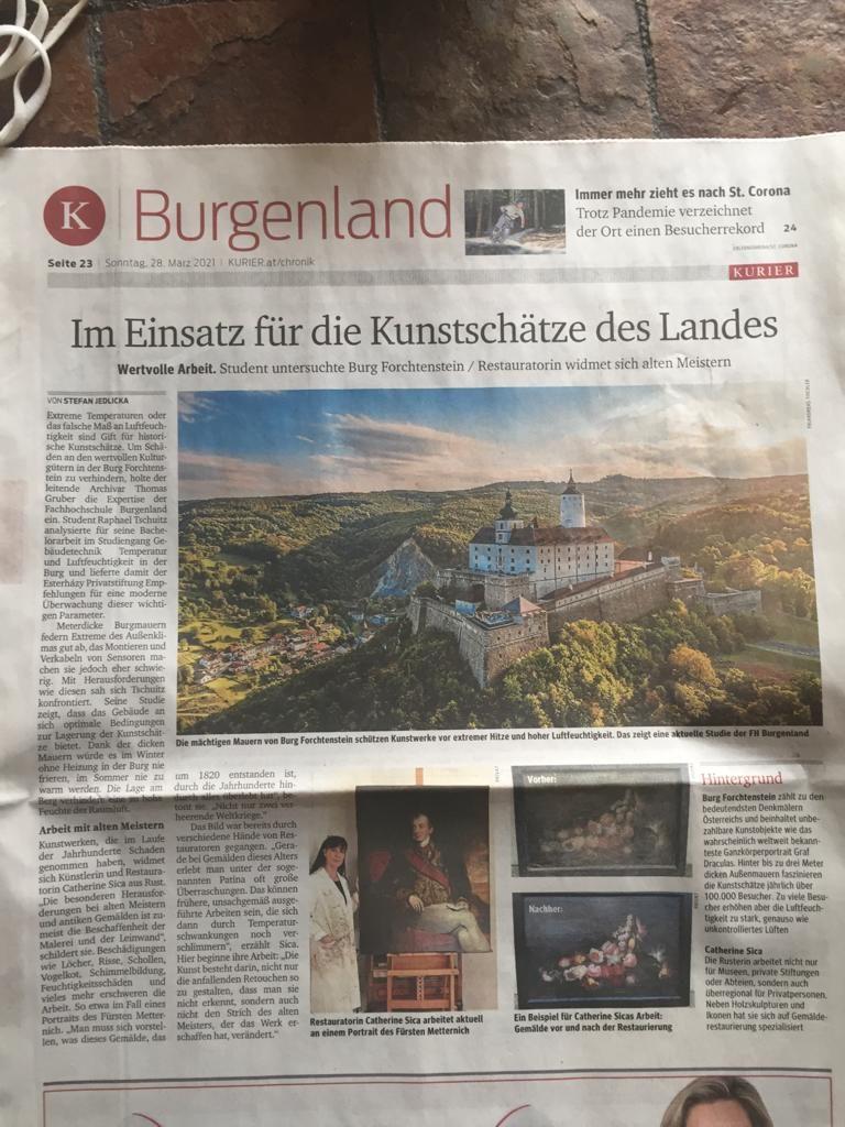 Kurier, Im Einsatz für die Kunstschätze des Burgenlands, März 2021